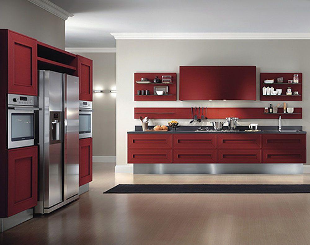 Cocina moderna en tonos rojos im genes y fotos for Cocinas modernas outlet