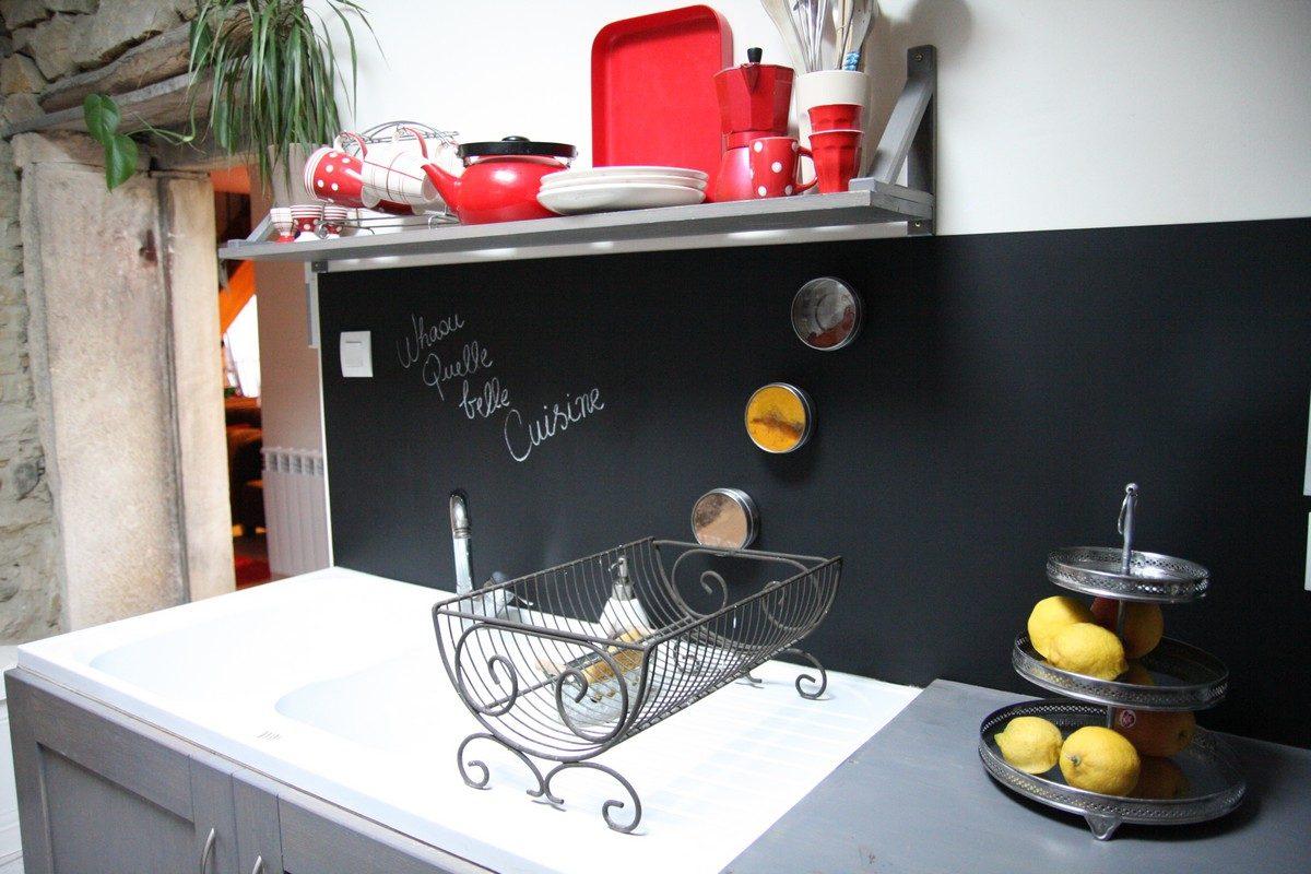 Pared de pizarra en la cocina im genes y fotos - Pizarra para cocina ...