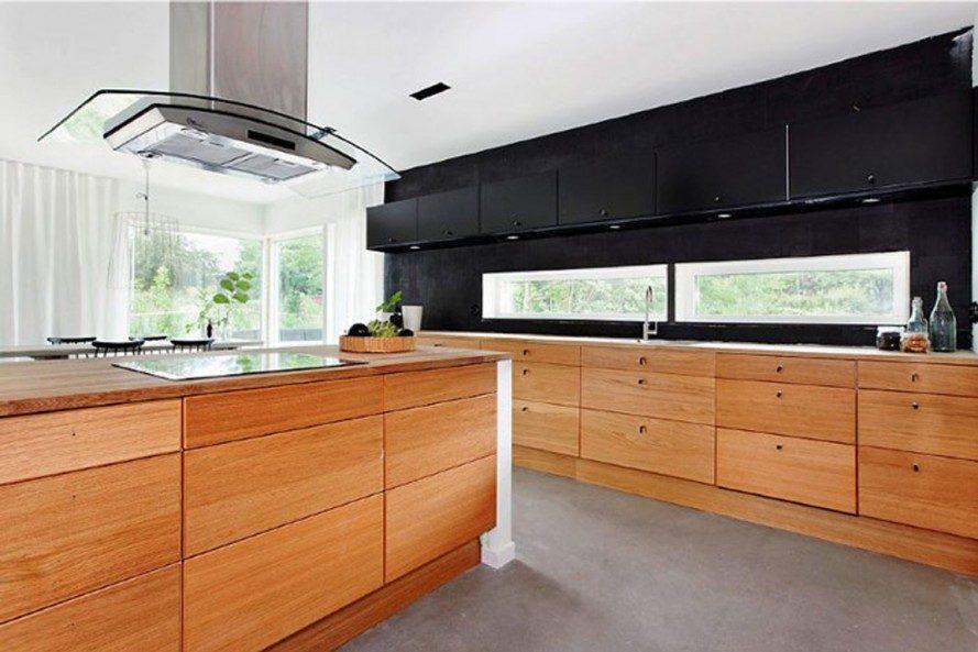 Cocina moderna con muebles de madera :: Imágenes y fotos