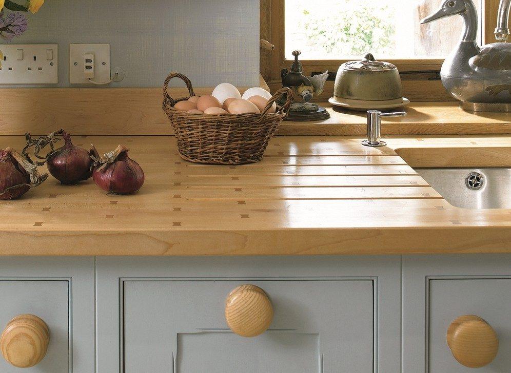 encimera de cocina de madera